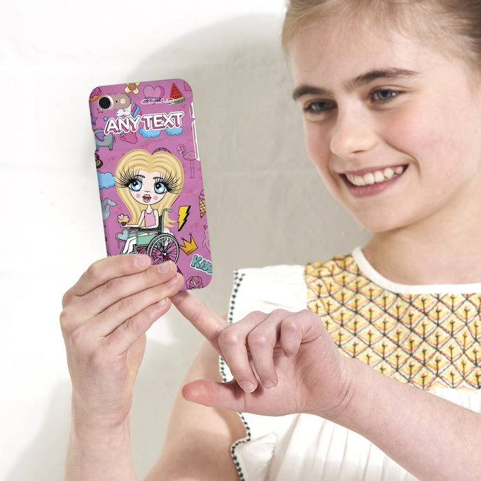 ClaireaBella Girls Wheelchair Personalized Stickers Print Phone Case - Image 3