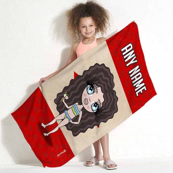 ClaireaBella Girls Love Canada Flag Beach Towel - Image 1