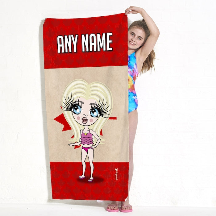 ClaireaBella Girls Love Canada Flag Beach Towel - Image 4
