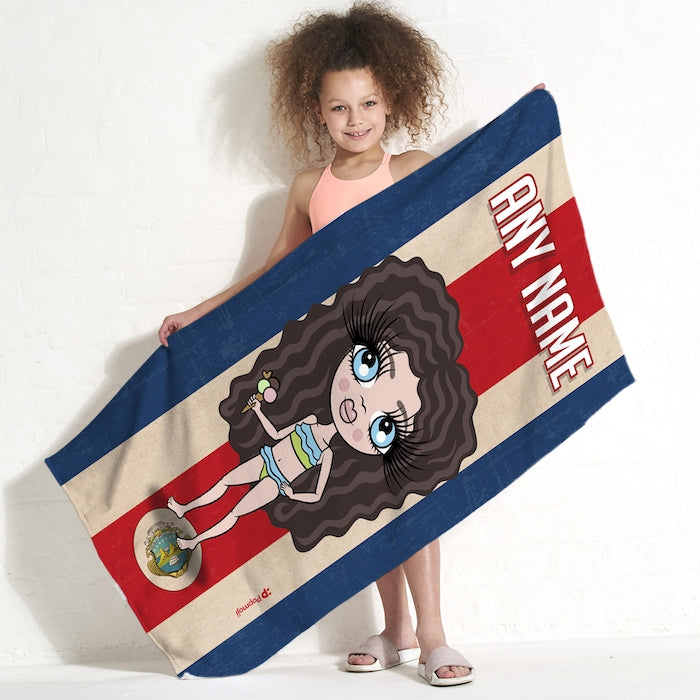 ClaireaBella Girls Love Costa Rica Flag Beach Towel - Image 1