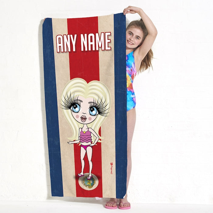 ClaireaBella Girls Love Costa Rica Flag Beach Towel - Image 4
