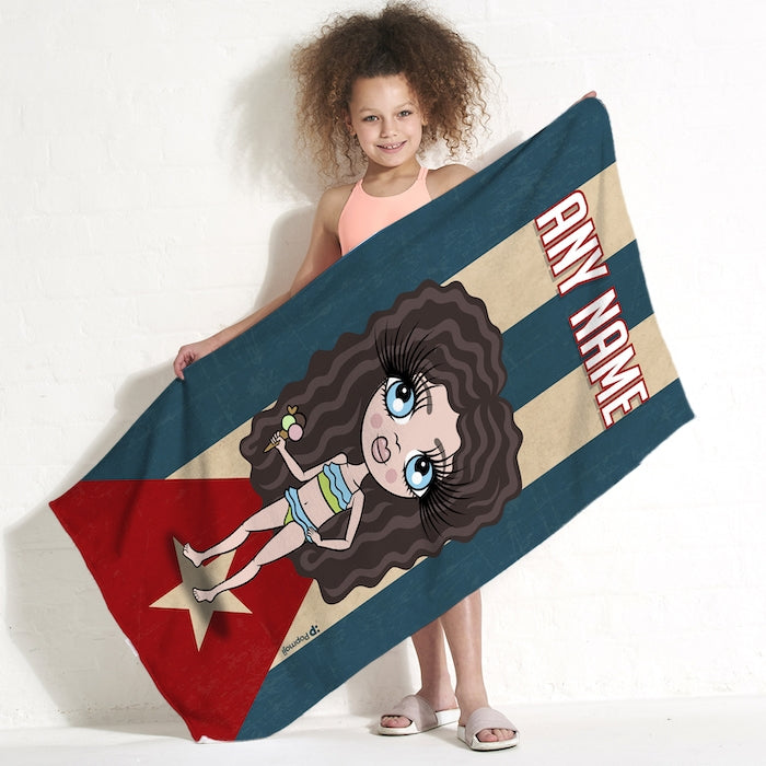 ClaireaBella Girls Love Cuba Flag Beach Towel - Image 1
