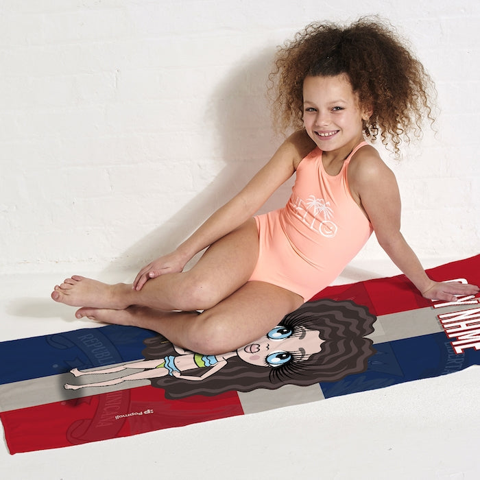 ClaireaBella Girls Love Dominican Republic Flag Beach Towel - Image 3