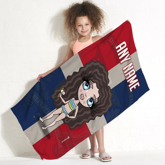ClaireaBella Girls Love Dominican Republic Flag Beach Towel - Image 1