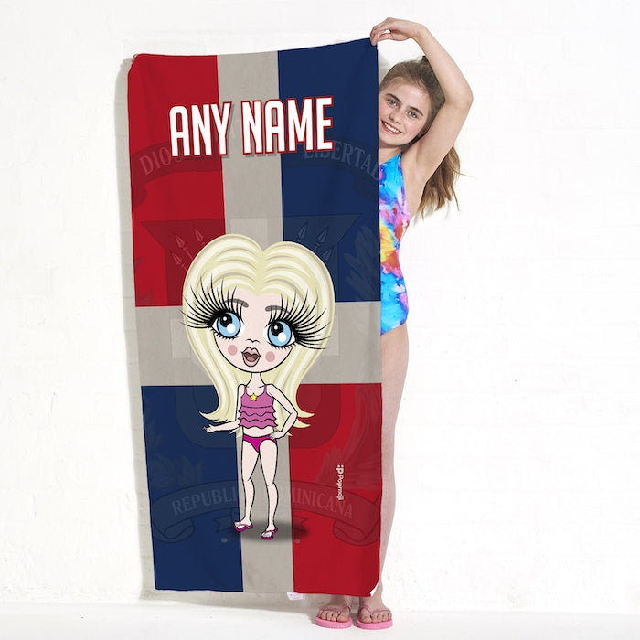 ClaireaBella Girls Love Dominican Republic Flag Beach Towel - Image 4