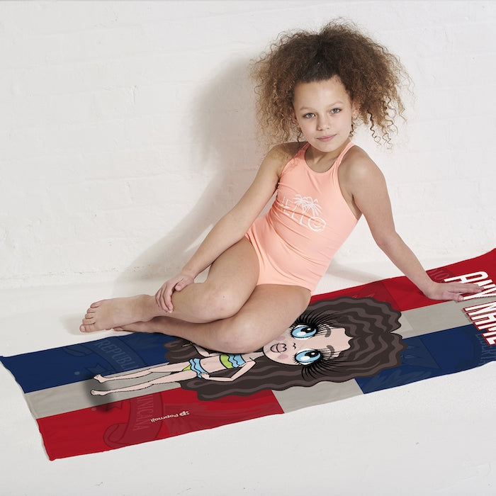 ClaireaBella Girls Love Dominican Republic Flag Beach Towel - Image 5
