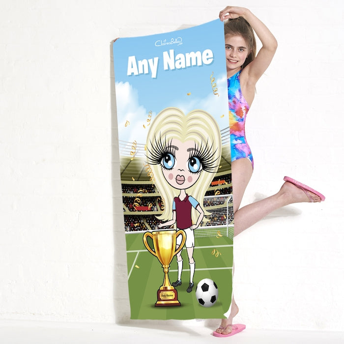 ClaireaBella Girls Football Champ Beach Towel - Image 2