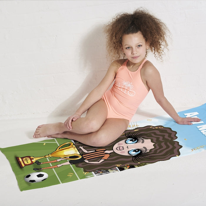 ClaireaBella Girls Football Champ Beach Towel - Image 3