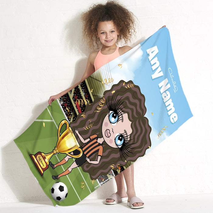 ClaireaBella Girls Football Champ Beach Towel - Image 1