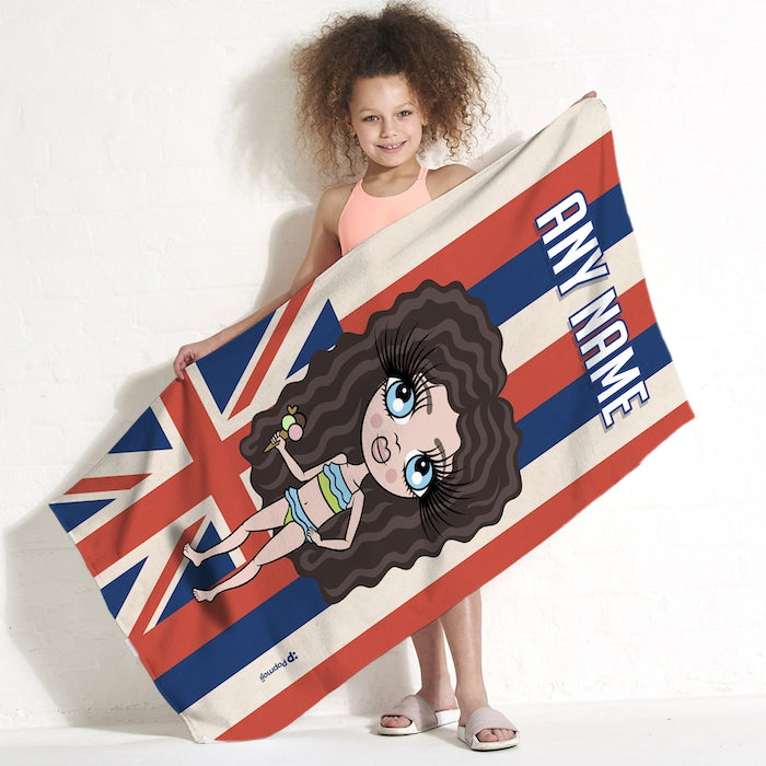 ClaireaBella Girls Love Hawaii Flag Beach Towel - Image 1