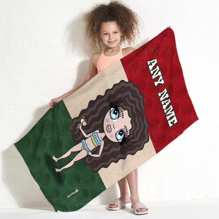 ClaireaBella Girls Love Mexico Flag Beach Towel - Image 1