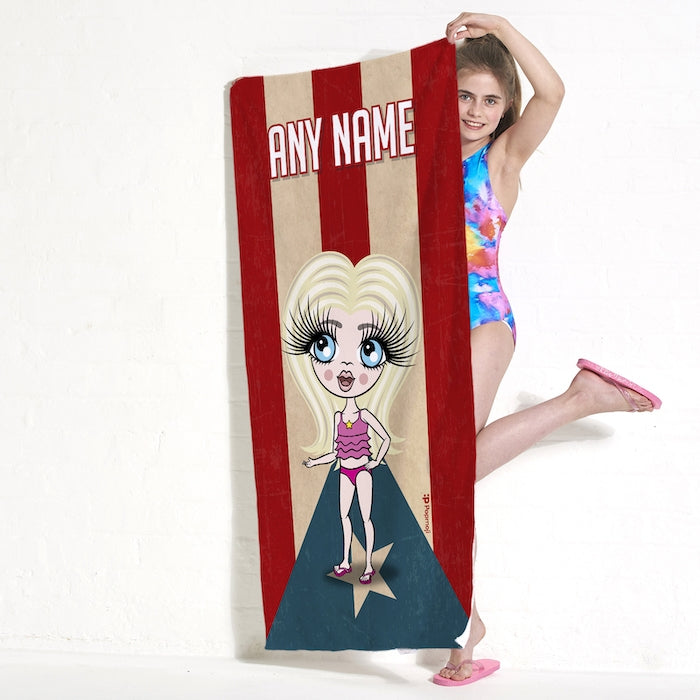 ClaireaBella Girls Love Puerto Rico Flag Beach Towel - Image 2
