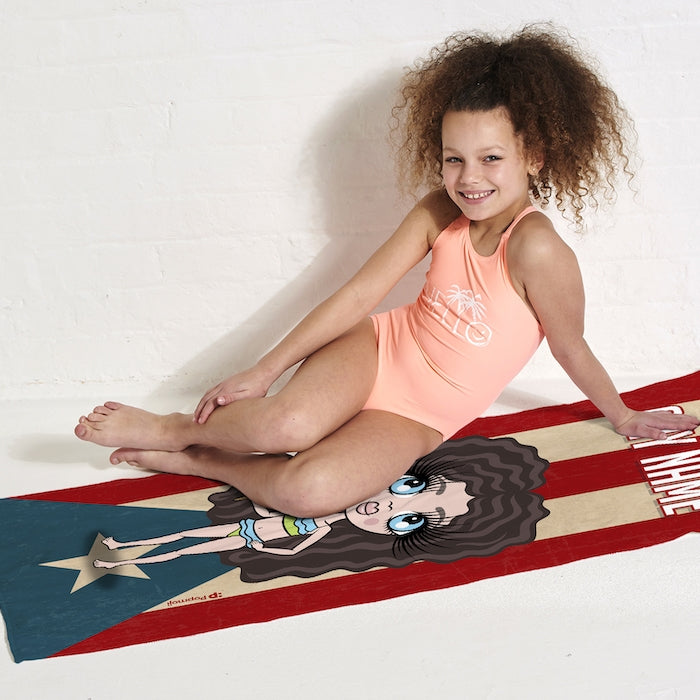 ClaireaBella Girls Love Puerto Rico Flag Beach Towel - Image 4