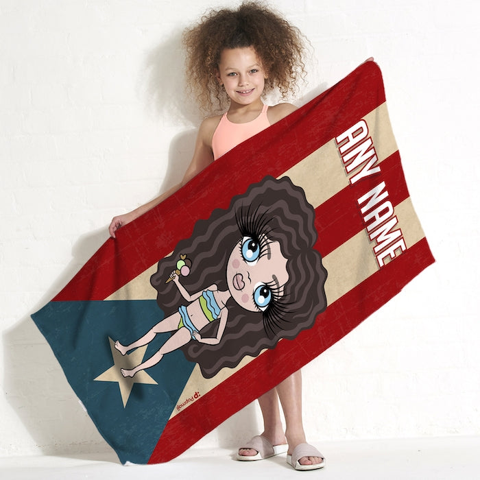 ClaireaBella Girls Love Puerto Rico Flag Beach Towel - Image 1