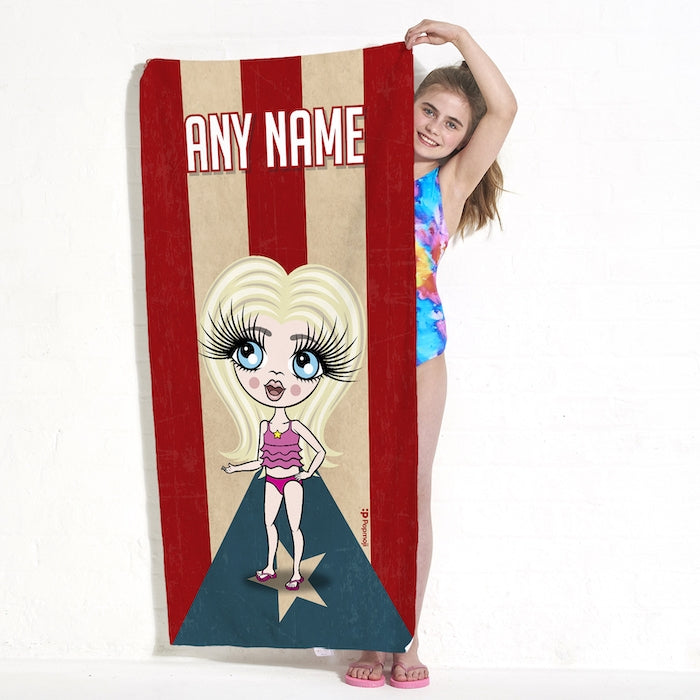 ClaireaBella Girls Love Puerto Rico Flag Beach Towel - Image 3