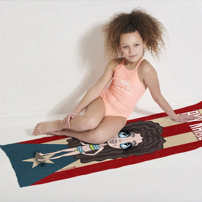 ClaireaBella Girls Love Puerto Rico Flag Beach Towel - Image 5