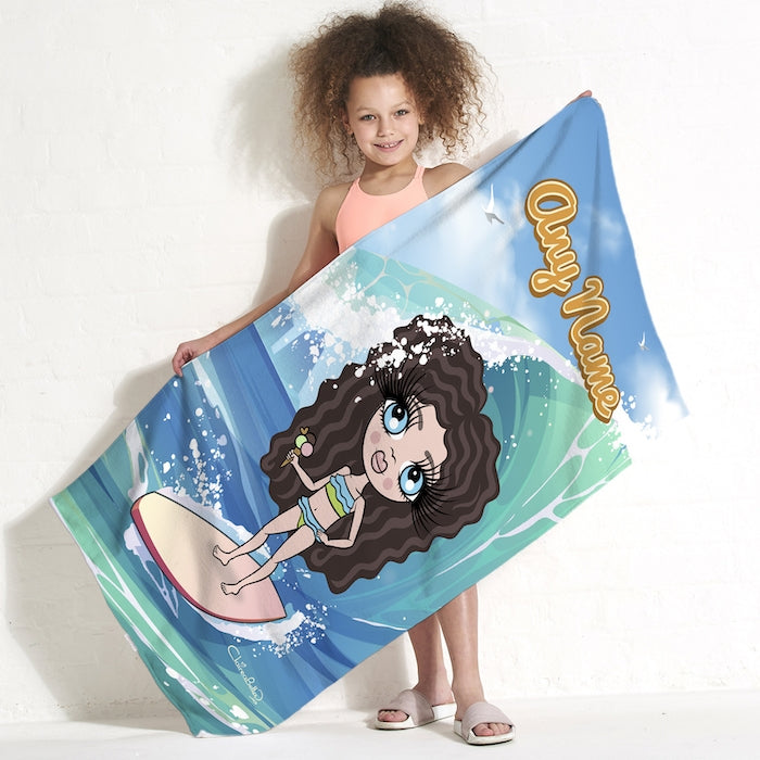 ClaireaBella Girls Surfs Up Beach Towel - Image 1
