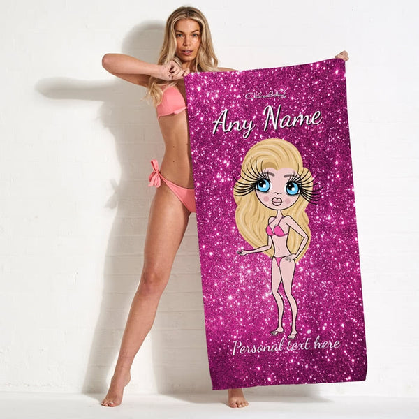ClaireaBella Glitter Effect Beach Towel - Image 1