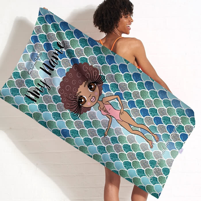 ClaireaBella Mermaid Glitter Effect Beach Towel - Image 9