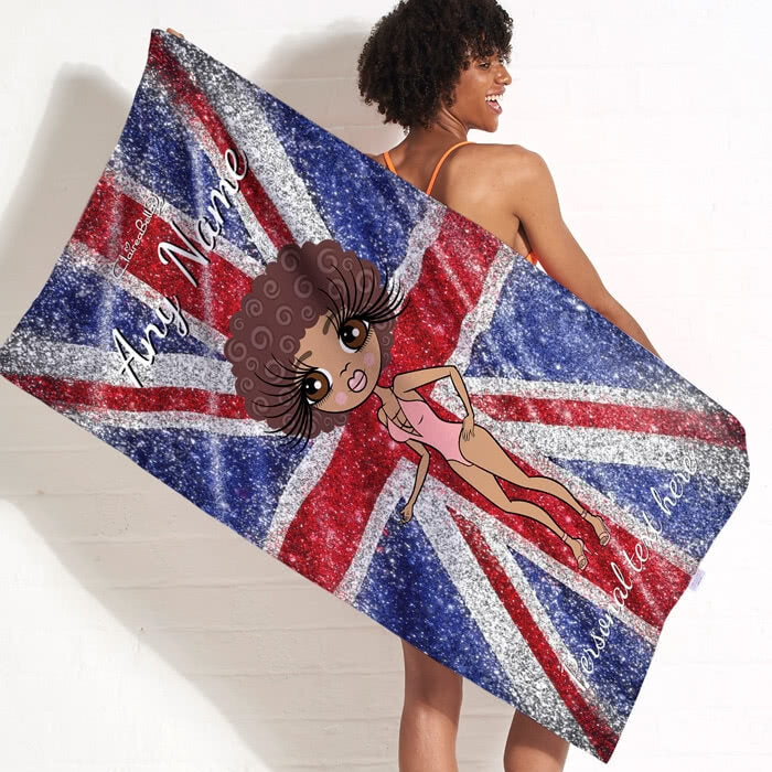 ClaireaBella Glitter Effect Union Jack Beach Towel - Image 11