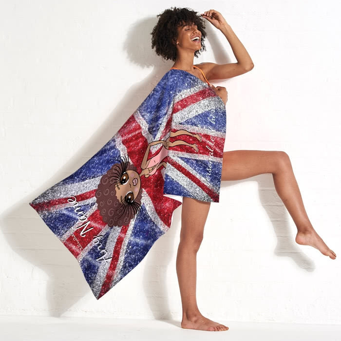 ClaireaBella Glitter Effect Union Jack Beach Towel - Image 5