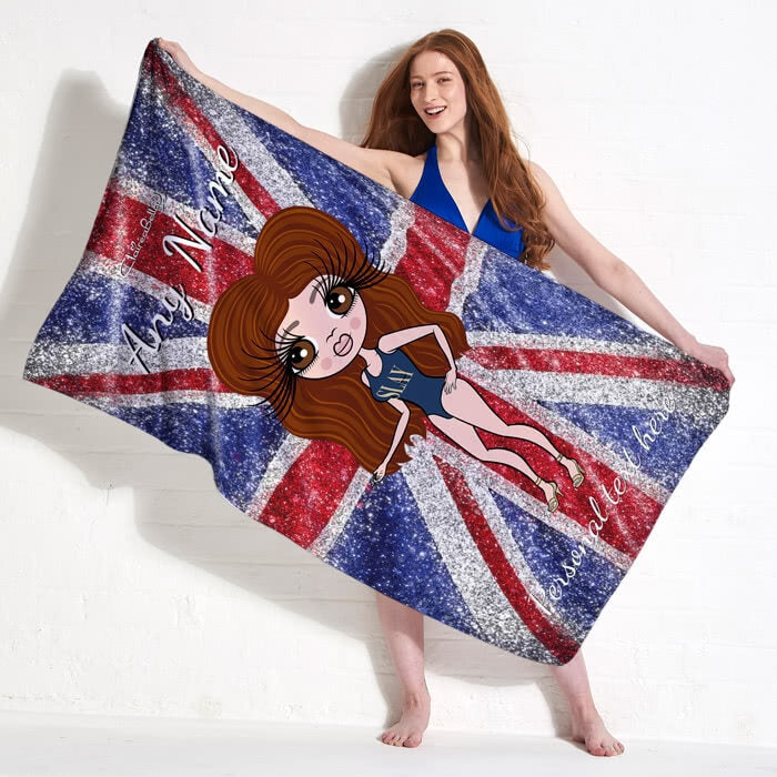 ClaireaBella Glitter Effect Union Jack Beach Towel - Image 3