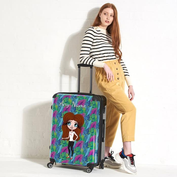 ClaireaBella Neon Leaf Suitcase - Image 1