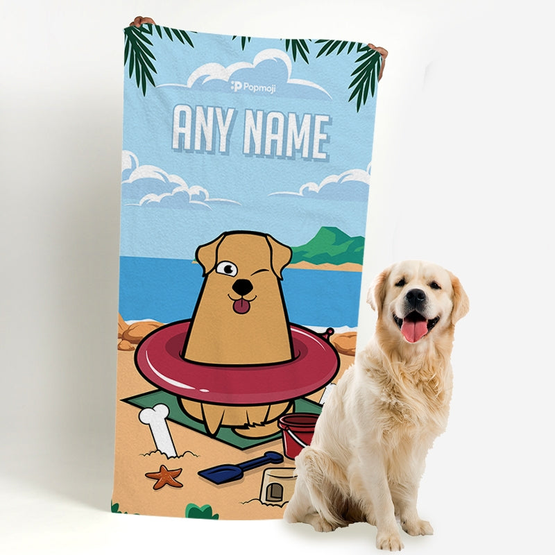 Personalized Dog Beach Fun Beach Towel - Image 1