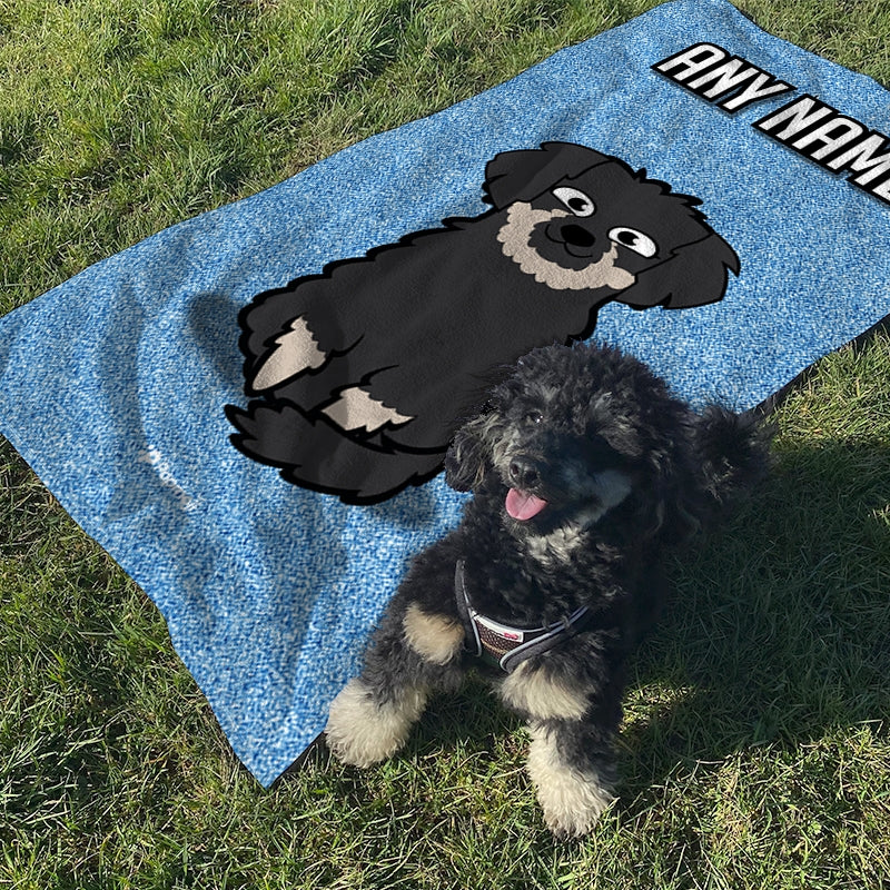 Personalized Dog Blue Glitter Beach Towel - Image 1