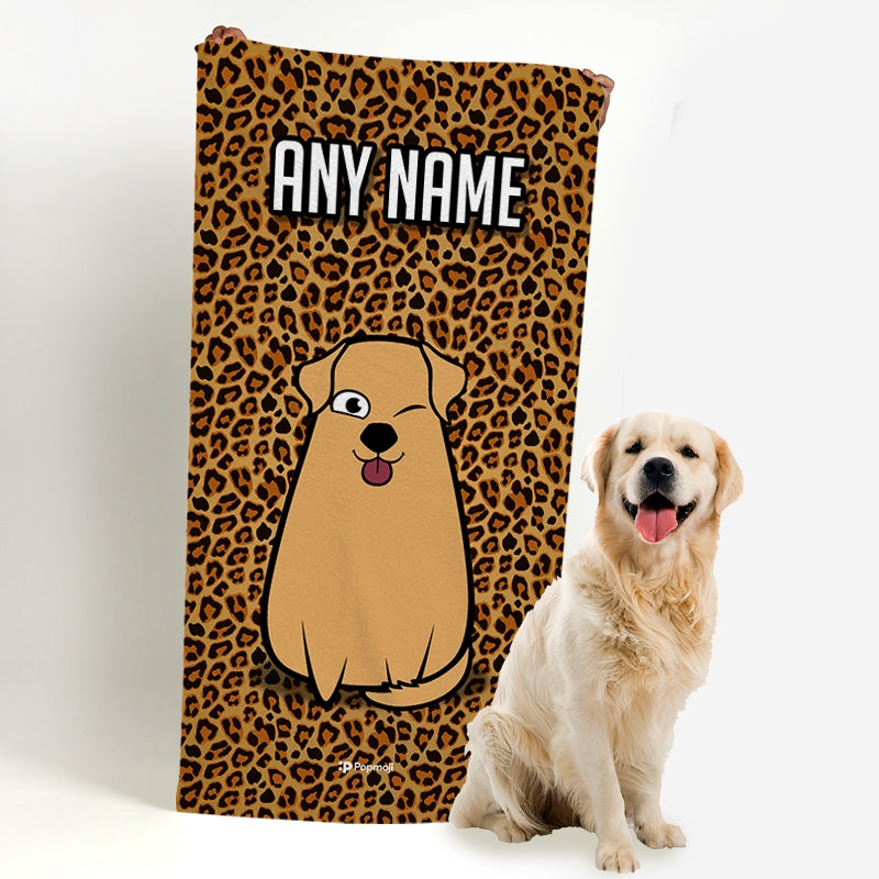 Personalized Dog Leopard Print Beach Towel - Image 4