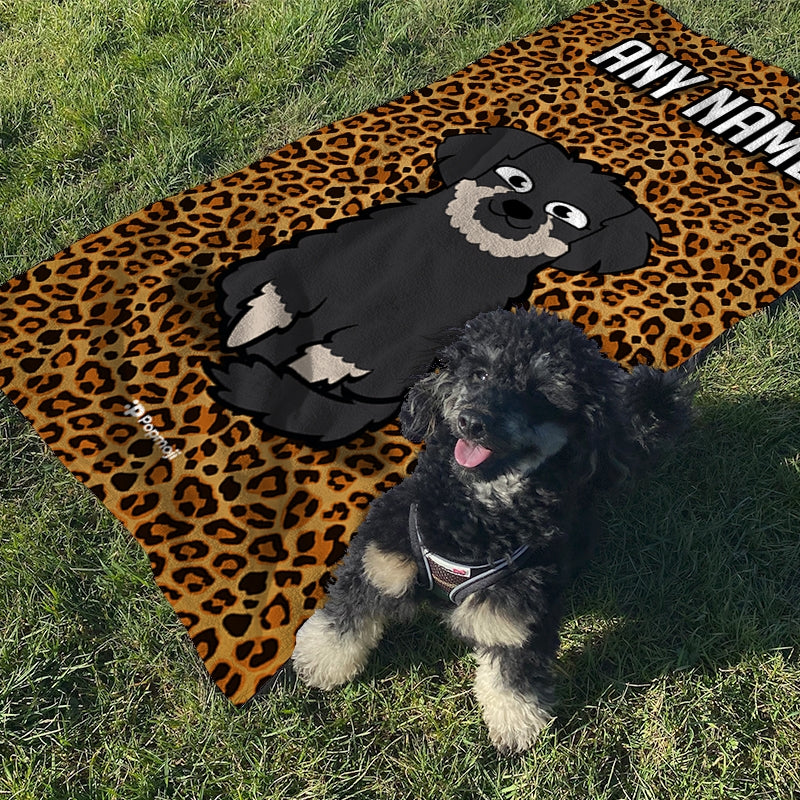 Personalized Dog Leopard Print Beach Towel - Image 5