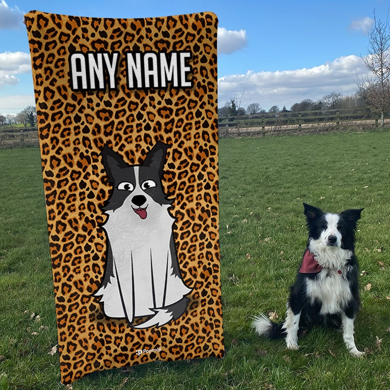 Personalized Dog Leopard Print Beach Towel - Image 2