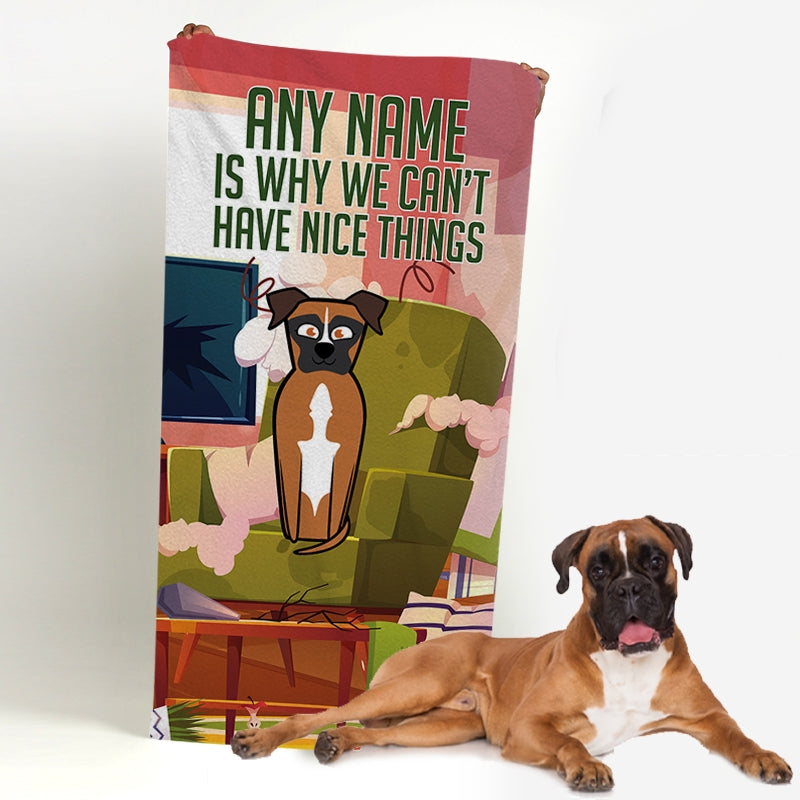 Personalized Dog Nice Things Beach Towel - Image 1