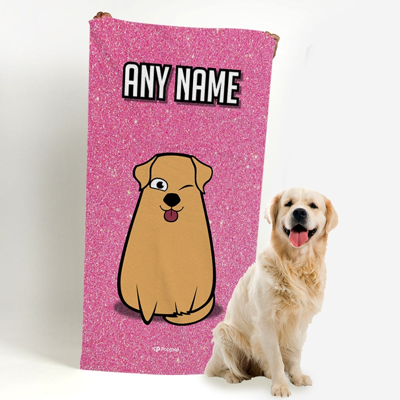 Personalized Dog Pink Glitter Beach Towel - Image 1