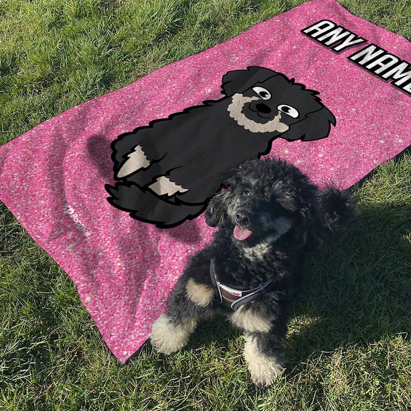 Personalized Dog Pink Glitter Beach Towel - Image 3
