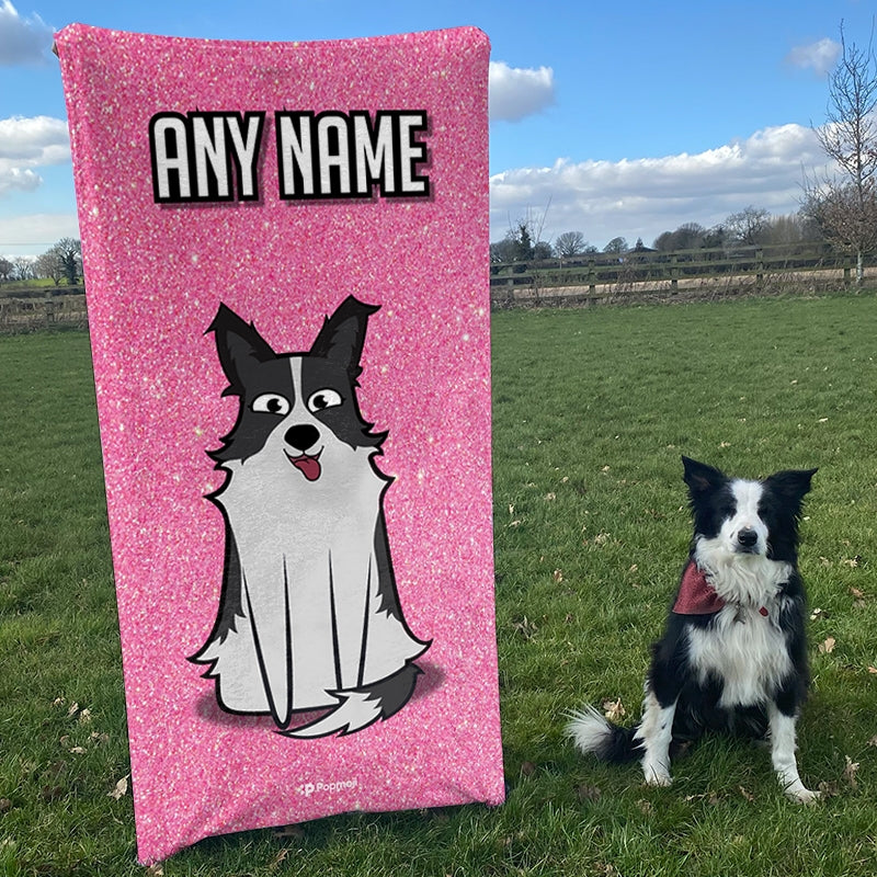 Personalized Dog Pink Glitter Beach Towel - Image 5