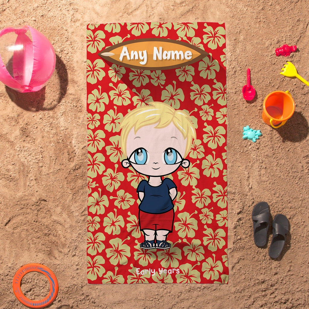 Early Years Red Hula Flowers Beach Towel - Image 1