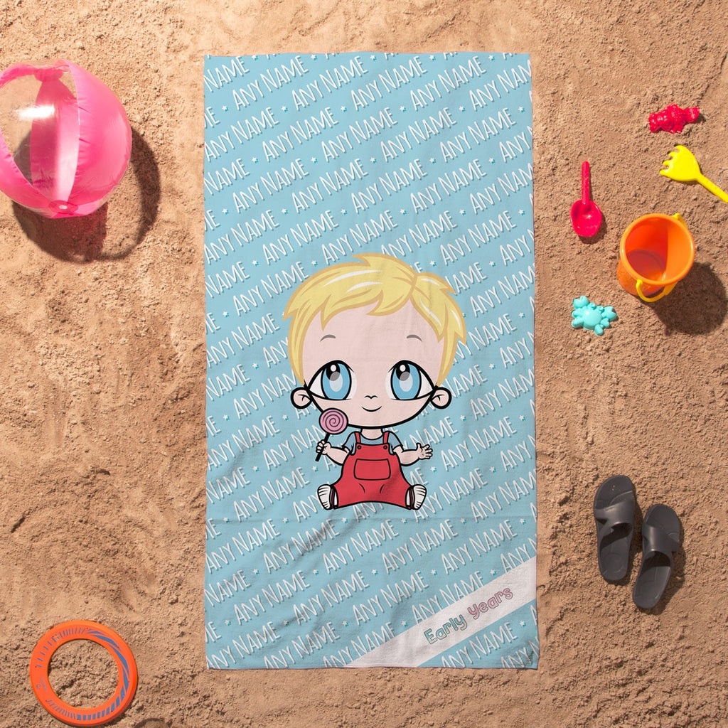 Early Years Blue Typography Beach Towel - Image 1