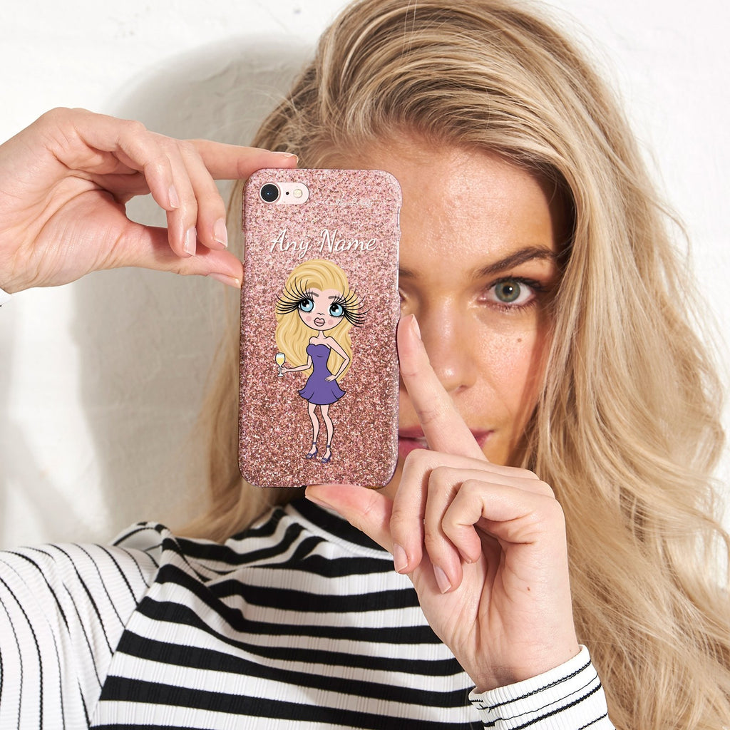ClaireaBella Personalized Glitter Effect Phone Case - Blush - Image 3