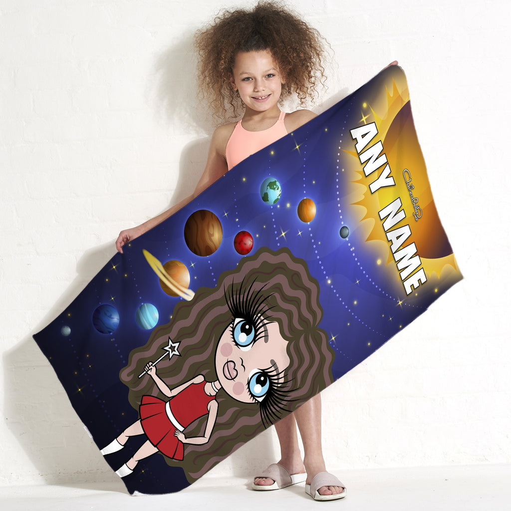 ClaireaBella Girls Space Galaxy Beach Towel - Image 1