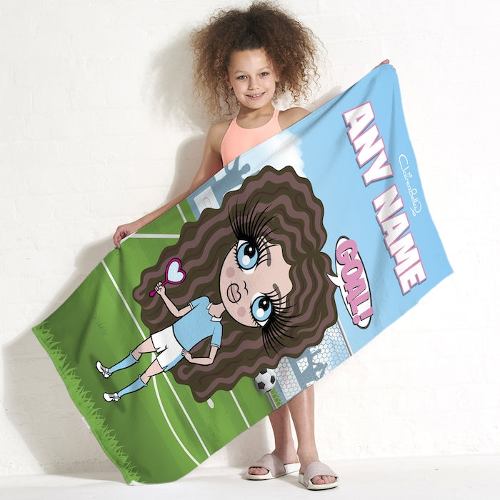 ClaireaBella Girls Footballing Goals Beach Towel - Image 1