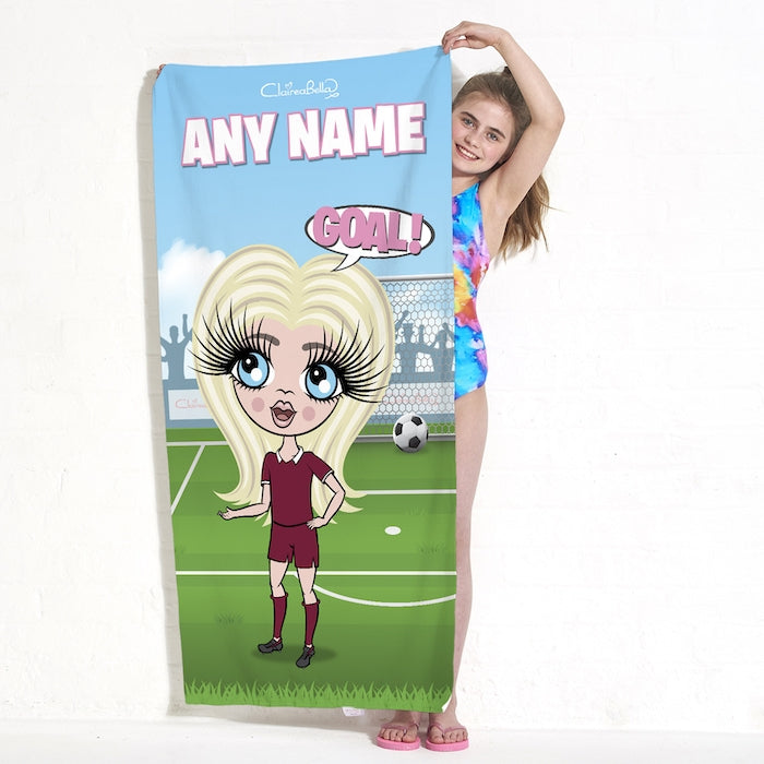 ClaireaBella Girls Footballing Goals Beach Towel - Image 2