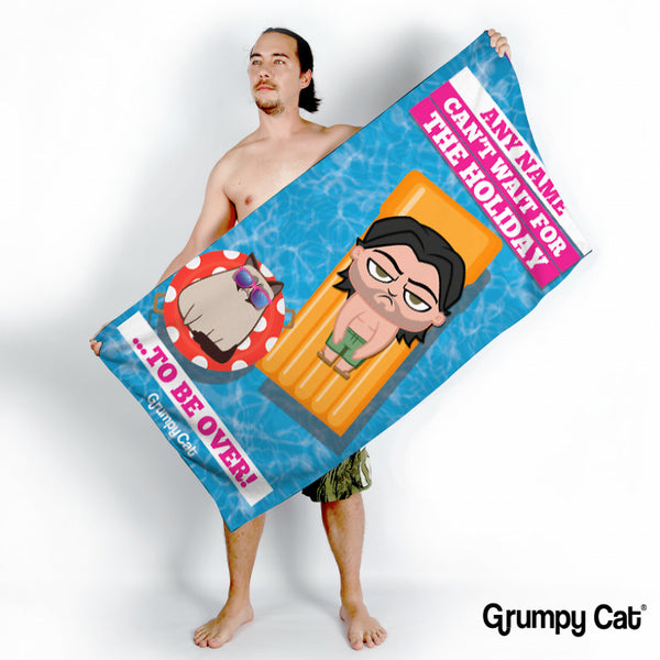 Grumpy Cat Holiday Over Beach Towel