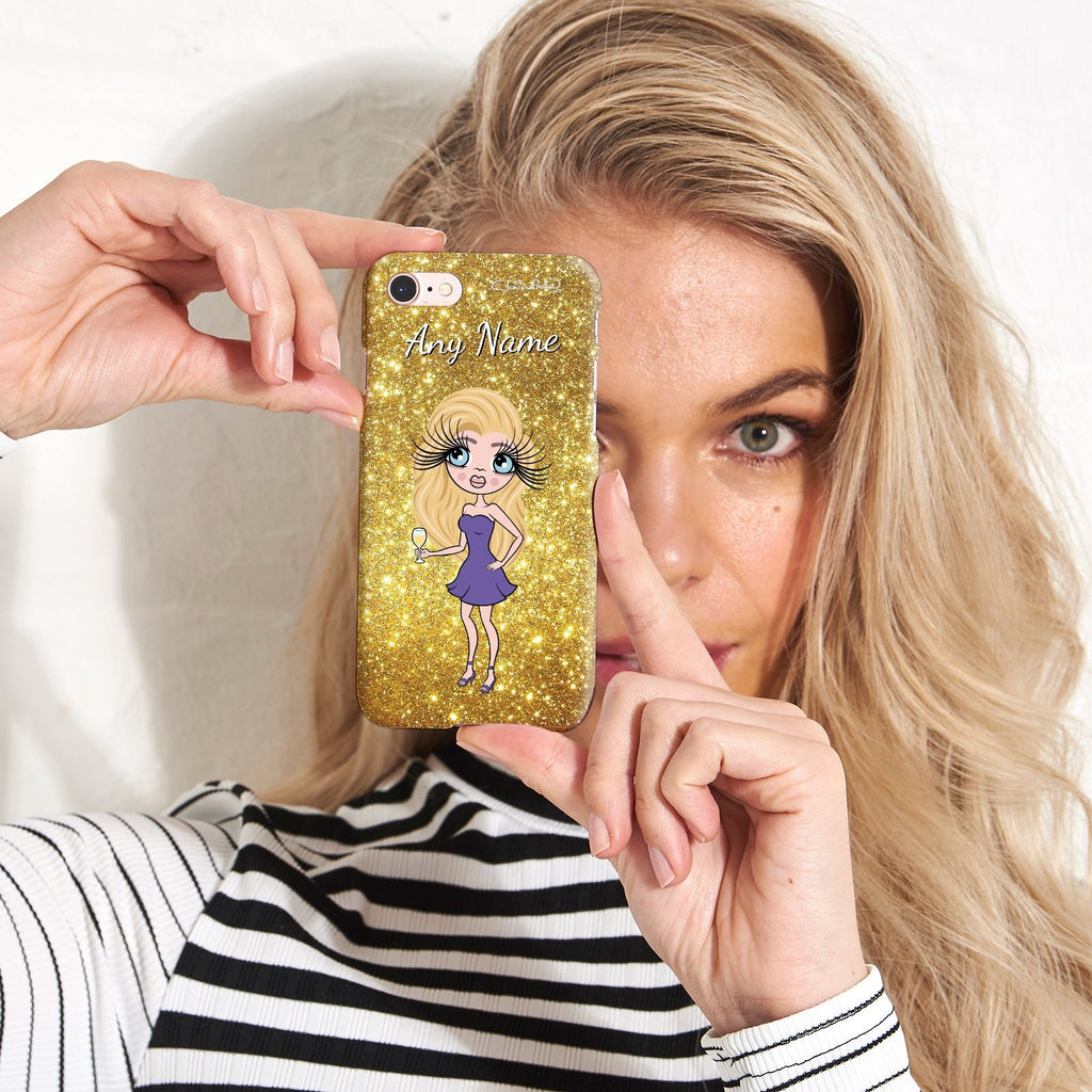 ClaireaBella Personalized Glitter Effect Phone Case - Gold - Image 2