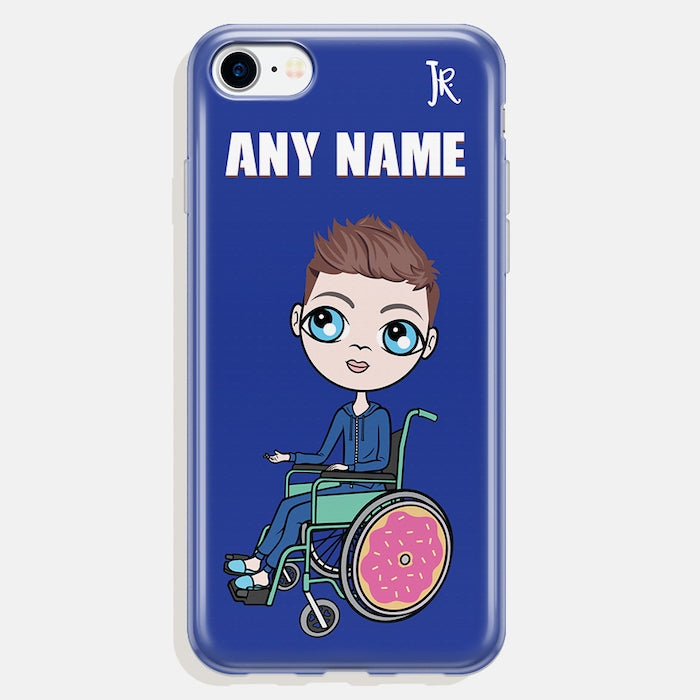 Jnr Boys Wheelchair Personalized Blue Phone Case - Image 2