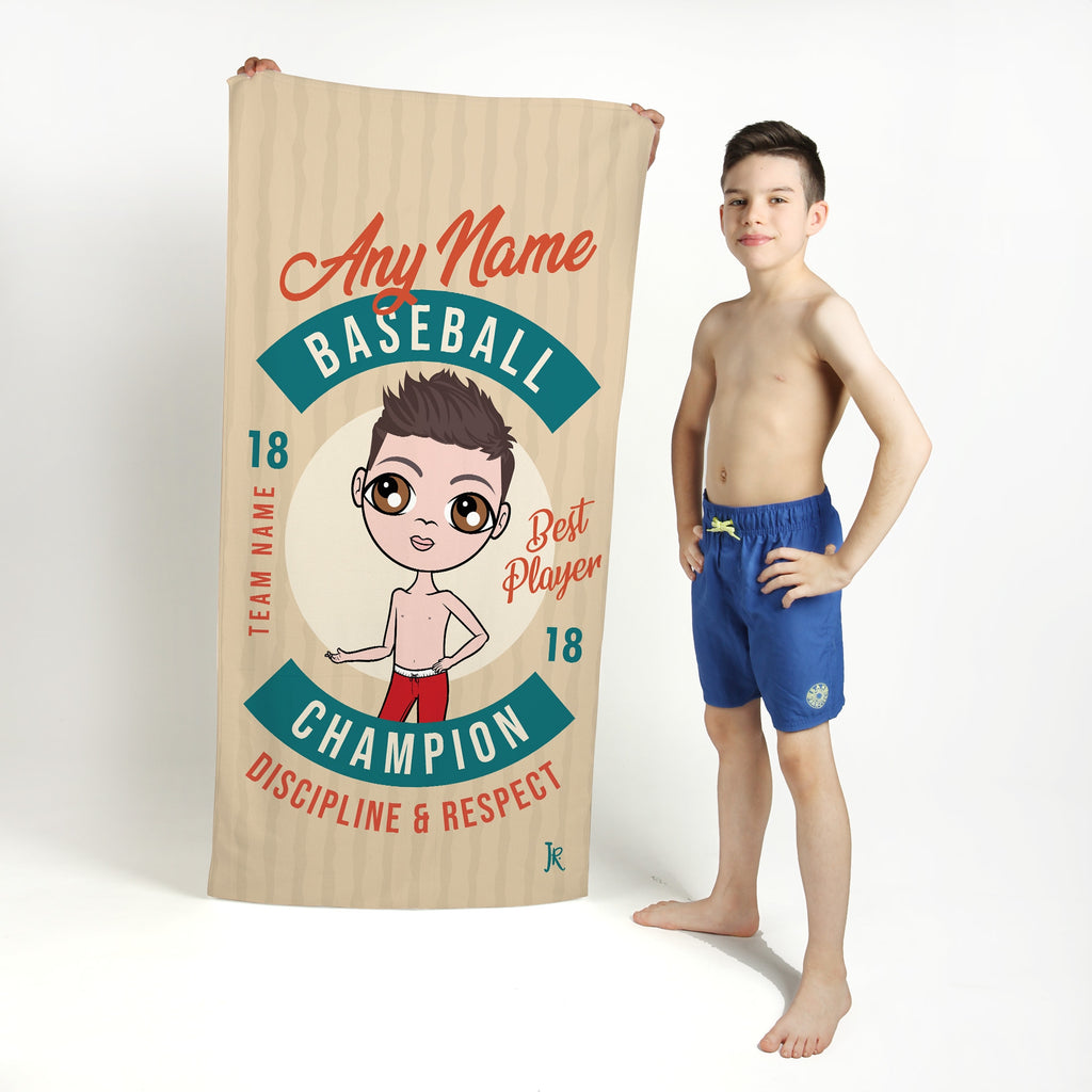 Jnr Boys Retro Baseball Beach Towel - Image 1