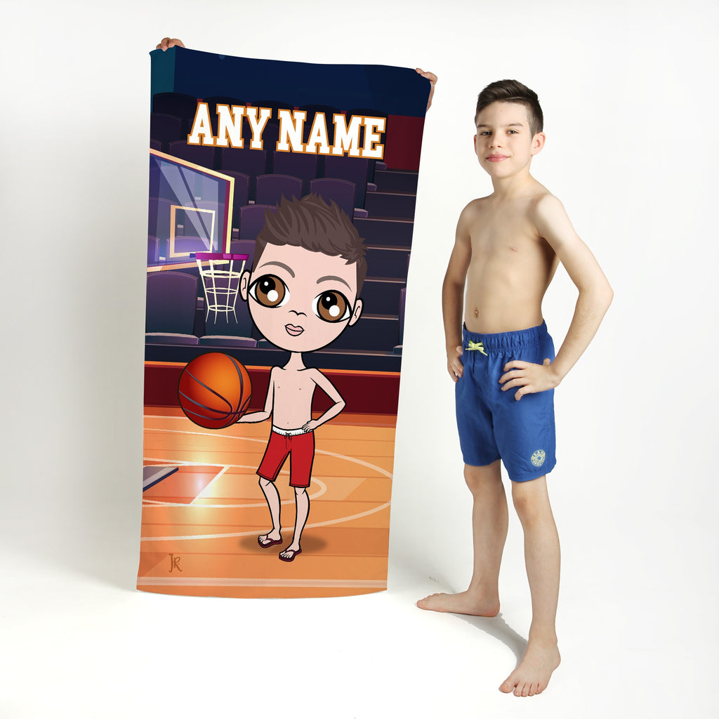 Jnr Boys Basketball Beach Towel - Image 1