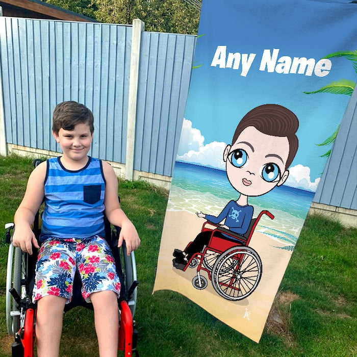 Jnr Boys Beach Print Wheelchair Beach Towel - Image 1