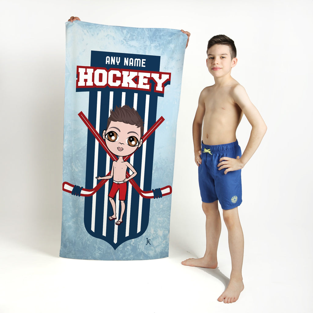 Jnr Boys Ice Hockey Emblem Beach Towel - Image 1