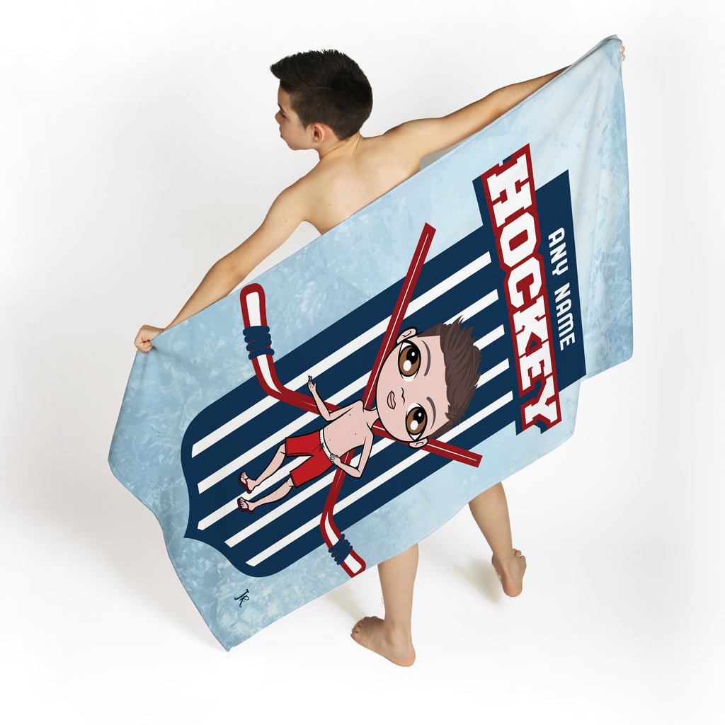 Jnr Boys Ice Hockey Emblem Beach Towel - Image 3